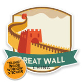 2 x Great Wall of China WINDOW CLING STICKER Car Van Campervan Glass #9189
