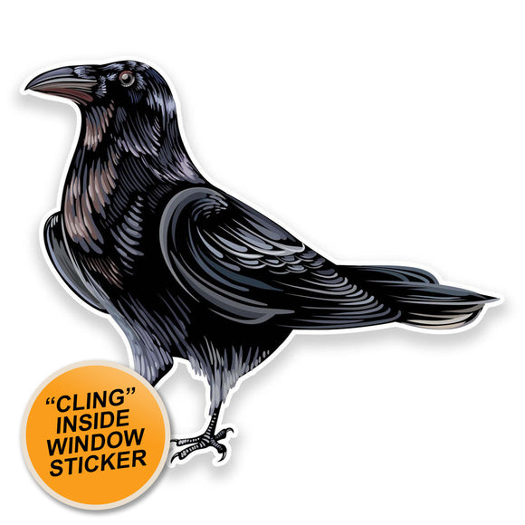 2 x Raven Crow WINDOW CLING STICKER Car Van Campervan Glass #9191