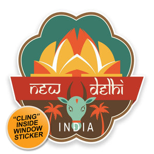2 x Delhi India WINDOW CLING STICKER Car Van Campervan Glass #9205
