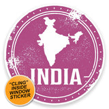 2 x India WINDOW CLING STICKER Car Van Campervan Glass #9214