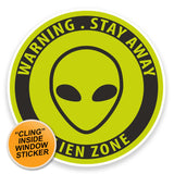 2 x Alien WINDOW CLING STICKER Car Van Campervan Glass #9219