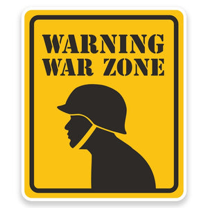 2 x Warning War Zone Vinyl Sticker  #9221