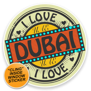 2 x UAE Dubai WINDOW CLING STICKER Car Van Campervan Glass #9227