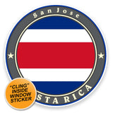 2 x Costa Rica Flag WINDOW CLING STICKER Car Van Campervan Glass #9240