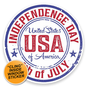2 x Independence Day USA WINDOW CLING STICKER Car Van Campervan Glass #9249