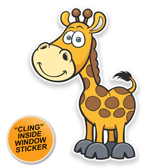 2 x Happy Giraffe WINDOW CLING STICKER Car Van Campervan Glass #9251