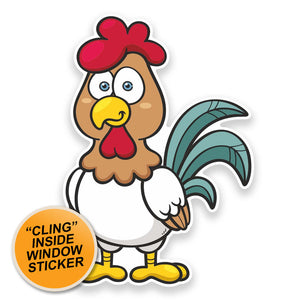 2 x Cool Chicken WINDOW CLING STICKER Car Van Campervan Glass #9274