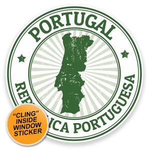 2 x Portugal WINDOW CLING STICKER Car Van Campervan Glass #9293