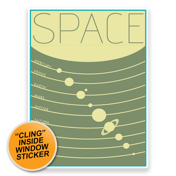 2 x Space Planets WINDOW CLING STICKER Car Van Campervan Glass #9311
