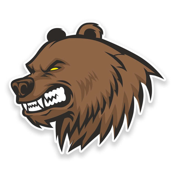 2 x Angry Brown Bear Vinyl Sticker #9324