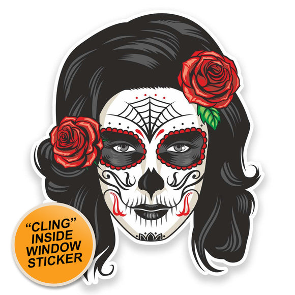 2 x Sugar Skull WINDOW CLING STICKER Car Van Campervan Glass #9327