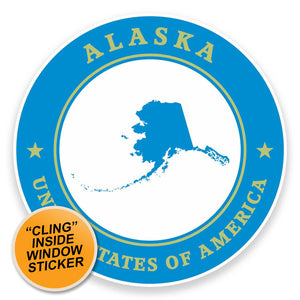 2 x Alaska USA WINDOW CLING STICKER Car Van Campervan Glass #9346