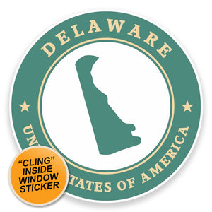 2 x Delaware USA WINDOW CLING STICKER Car Van Campervan Glass #9349