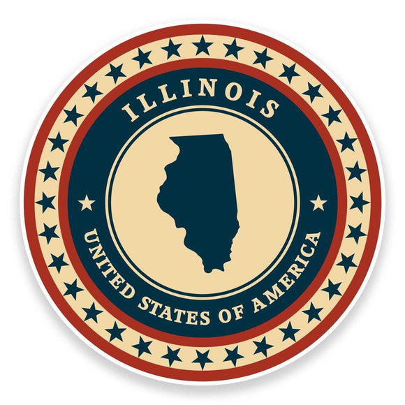 2 x Illinois USA Vinyl Sticker #9351