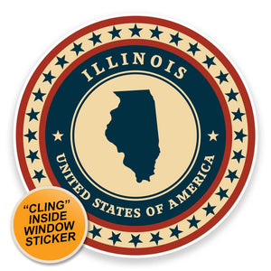2 x Illinois USA WINDOW CLING STICKER Car Van Campervan Glass #9351