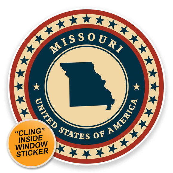 2 x Missouri USA WINDOW CLING STICKER Car Van Campervan Glass #9354