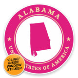 2 x Alabama USA WINDOW CLING STICKER Car Van Campervan Glass #9362