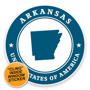 2 x Arkansas USA WINDOW CLING STICKER Car Van Campervan Glass #9371