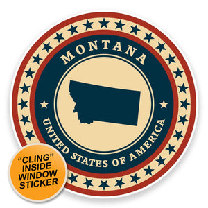 2 x Montana USA WINDOW CLING STICKER Car Van Campervan Glass #9378