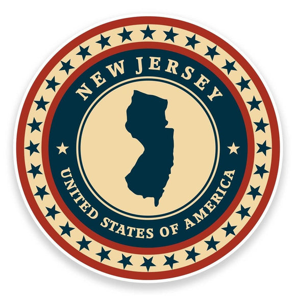2 x New Jersey USA Vinyl Sticker #9408