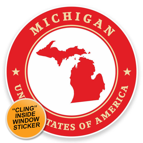 2 x Michigan USA WINDOW CLING STICKER Car Van Campervan Glass #9421