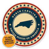2 x North Carolina USA WINDOW CLING STICKER Car Van Campervan Glass #9426