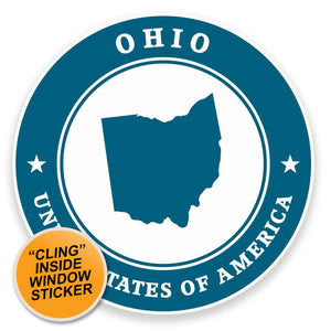 2 x Ohio USA WINDOW CLING STICKER Car Van Campervan Glass #9437
