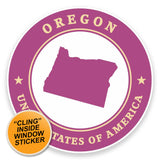 2 x Oregon USA WINDOW CLING STICKER Car Van Campervan Glass #9443