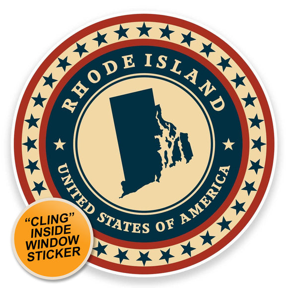 2 x Rhode Island USA WINDOW CLING STICKER Car Van Campervan Glass #9444