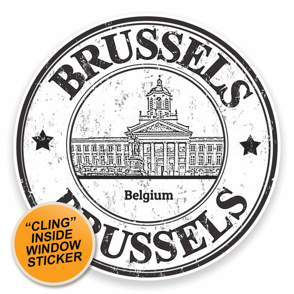 2 x Brussels Belgium WINDOW CLING STICKER Car Van Campervan Glass #9469