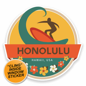 2 x Honolulu Hawaii USA WINDOW CLING STICKER Car Van Campervan Glass #9473