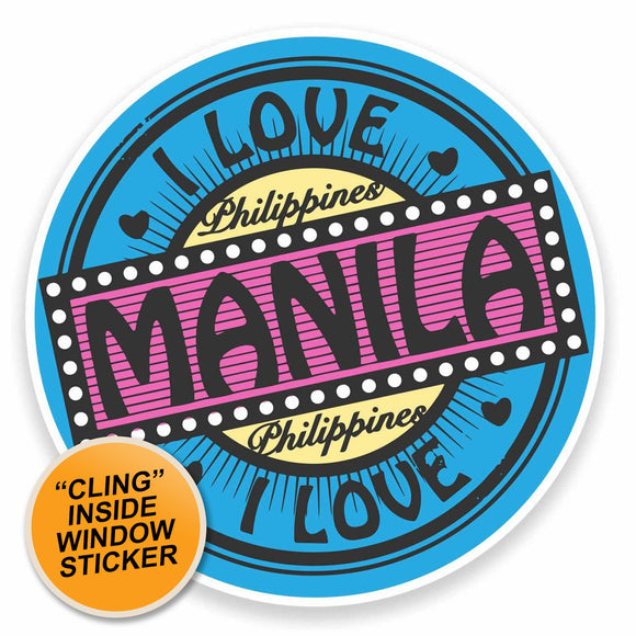 2 x Manila Philippines Flag Map WINDOW CLING STICKER Car Van Campervan Glass #9475