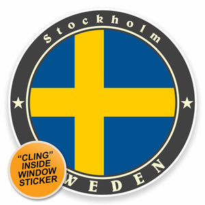 2 x Stockholm Sweden WINDOW CLING STICKER Car Van Campervan Glass #9502