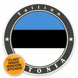 2 x Tallinn Estonia Flag WINDOW CLING STICKER Car Van Campervan Glass #9503