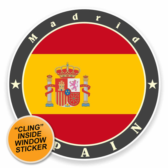 2 x Madrid Spain WINDOW CLING STICKER Car Van Campervan Glass #9513