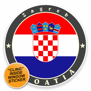 2 x Zagreb Croatia WINDOW CLING STICKER Car Van Campervan Glass #9526