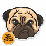 2 x Grumpy Pug Dog WINDOW CLING STICKER Car Van Campervan Glass #9531