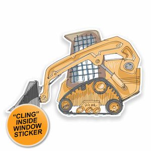 2 x Construction Digger WINDOW CLING STICKER Car Van Campervan Glass #9534