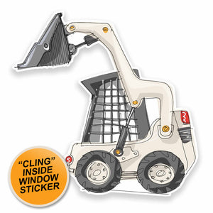 2 x Construction Digger WINDOW CLING STICKER Car Van Campervan Glass #9538