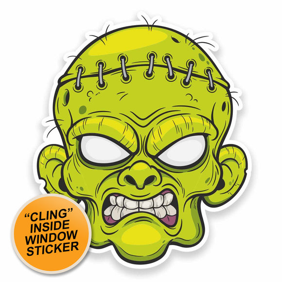 2 x Zombie Head WINDOW CLING STICKER Car Van Campervan Glass #9540