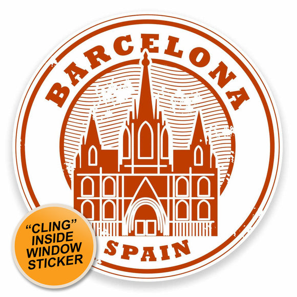 2 x Barcelona Catalunya Spain WINDOW CLING STICKER Car Van Campervan Glass #9552