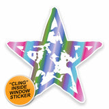 2 x Funky Star WINDOW CLING STICKER Car Van Campervan Glass #9591