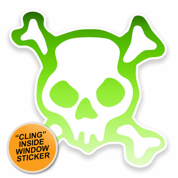 2 x Cool Skull WINDOW CLING STICKER Car Van Campervan Glass #9598