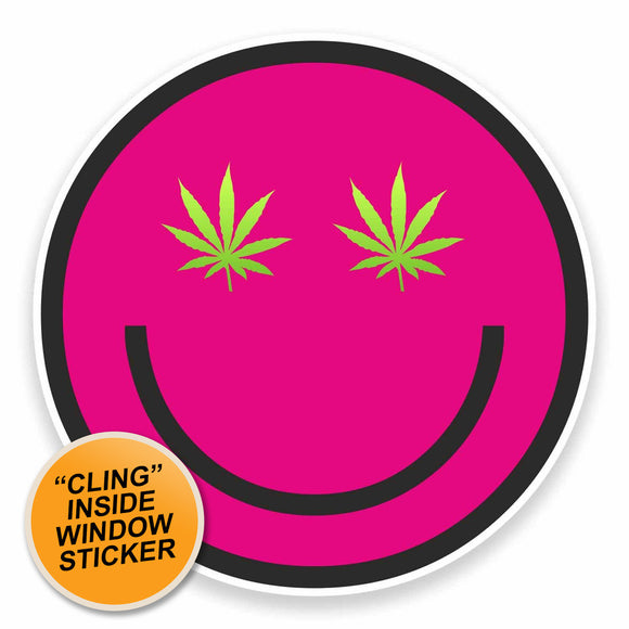 2 x Cannabis WINDOW CLING STICKER Car Van Campervan Glass #9601