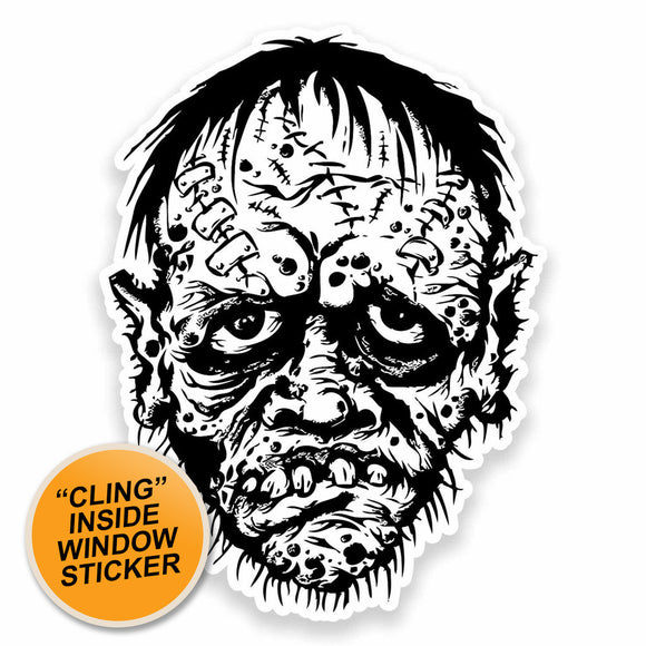 2 x Zombie Head WINDOW CLING STICKER Car Van Campervan Glass #9611
