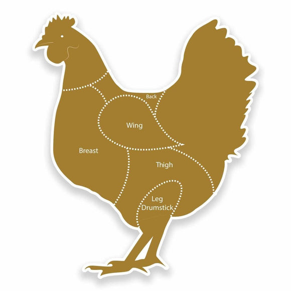 2 x Meat Cuts Chicken Vinyl Sticker #9621