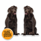 2 x Chocolate Labrador WINDOW CLING STICKER Car Van Campervan Glass #9634