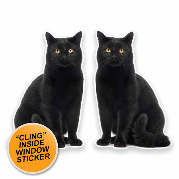 2 x Black Cat WINDOW CLING STICKER Car Van Campervan Glass #9641