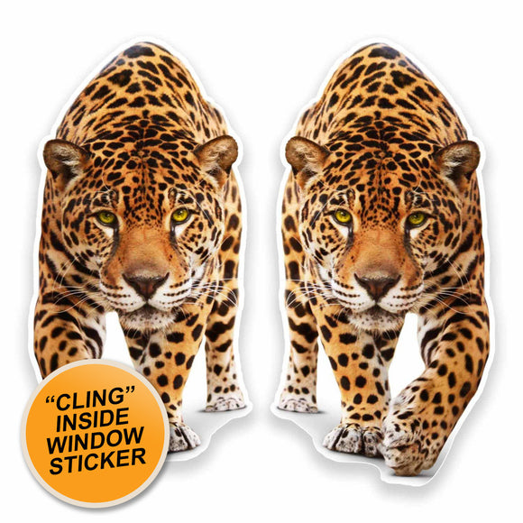 2 x Jaguar Panther WINDOW CLING STICKER Car Van Campervan Glass #9645