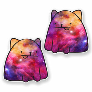 2 x Interstellar Cat Vinyl Sticker #9657